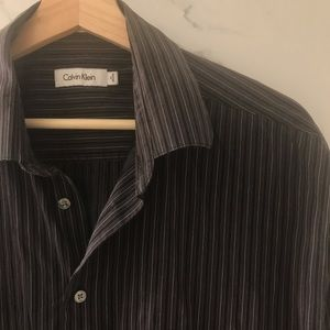 Calvin Klein • Black Striped Button Down